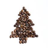 Julgran som göras av kaffebönor Arkivbild