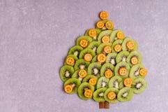Julgran som göras av kiwi och kumquaten Arkivbilder