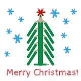 Julgran som göras av kulöra blyertspennor och den glade julen för ord Arkivbilder