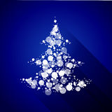 Julgran som göras av ljusa partiklar. Plan design Royaltyfri Foto