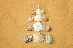 Julgran som göras av skal på sanden Royaltyfri Foto