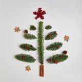 Julgran som göras av vinterlövverk och kanelbruna pinnar royaltyfria bilder