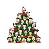 Julgran som göras från grupp människor för ditt Arkivfoton