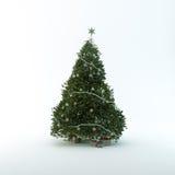 Julgran som isoleras på vit bakgrund Arkivbilder