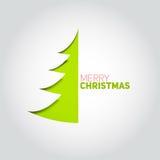 Julgran som klipps ut ur vitbok Designbeståndsdel för holida Arkivfoto