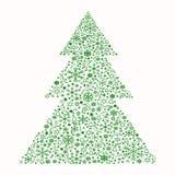 Julgran som utgöras av åtskilliga beståndsdelar och snöflingor royaltyfri illustrationer