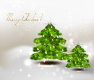 Julgran två på vinterbakgrund, stjärnor och snöflingor royaltyfria bilder