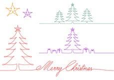 Julgranar en enkel linje teckning, vektorillustration arkivbilder