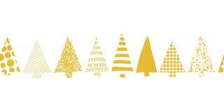 Julgranar gränsar Modell för vektor för julgranar i rad sömlös Geometrisk julgrankonturguld på ett vitt stock illustrationer
