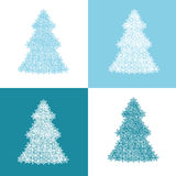 Julgranar i blått- och vitfärger Royaltyfri Foto