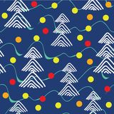 Julgranar i bollar för ett trä och exponeringsglasi vinternatur också vektor för coreldrawillustration royaltyfri illustrationer