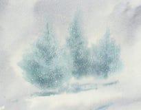 Julgranar i snöhäftig snöstormakvarell Royaltyfria Bilder