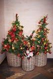 Julgranar med garneringar royaltyfria bilder