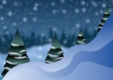 Julgranar på den suddiga snön för bakgrund Royaltyfria Bilder