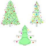 Julgranar samling. royaltyfri illustrationer