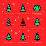 Julgranar samling och himmel med fallande snöflingor vektor illustrationer