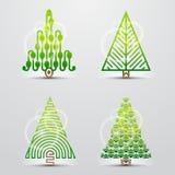 Julgranar. Set av vektorsymboler (symboler) Arkivbild