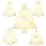 Julgranar ställde in guld- isolerat Royaltyfria Bilder