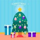Julgranbakgrund med gåvaboxe Royaltyfria Bilder