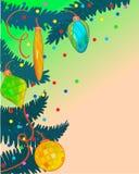 Julgranbakgrund med julpynt Royaltyfri Foto