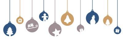 Julgranbollgarnering med vinterbevekelsegrunder royaltyfri illustrationer