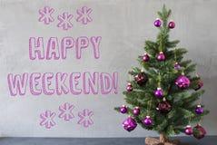Julgranen cementvägg, smsar lycklig helg Arkivfoto