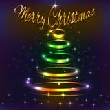 Julgranen glöder i natten med kulöra ljus stock illustrationer