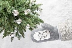 Julgranen handsken, text tackar dig Royaltyfri Foto