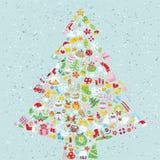 Julgranen kvadrerar kortet vektor illustrationer