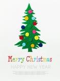 Julgranen med bollar gjorde ‹för †av filt Royaltyfria Foton
