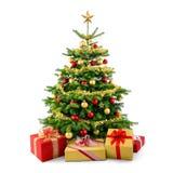 Julgranen med garnering, jul klumpa ihop sig royaltyfri illustrationer
