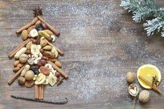 Julgranen med torkade frukter och muttrar gör sammandrag bakgrund Royaltyfri Fotografi