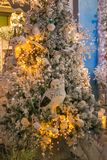 Julgranen med ugglor, ljus och bollar på regeringstiden av Santa Claus shoppar Royaltyfria Bilder