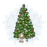 Julgranen skissar för din design Arkivbild