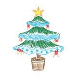 Julgranen skissar, klottrar, illustrationen Fotografering för Bildbyråer