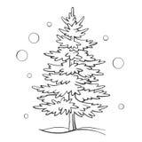 Julgranen skissar vinter för symbolvektorxmas stock illustrationer