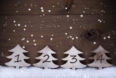 Julgranen snö, kopieringsutrymme, fyra numrerar, Advent, snöflinga Royaltyfria Bilder