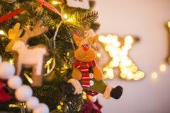 Julgranen som dekoreras med leksaker, bollar, glitter som är roligt behandla som ett barn djur, blommor tätt upp på en bakgrund a Arkivfoton