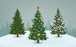 Julgranen ställde in för hälsa kort, inbjudan, baner och rengöringsdukdesign vektor arkivbild