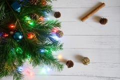 Julgranfilialen dekorerade för jul och nytt år nära royaltyfri bild