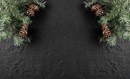 Julgranfilialer med sörjer kottar på mörk feriebakgrund med ljus Tema för Xmas och för lyckligt nytt år arkivfoton