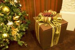 Julgrangåvan boxas arkivbild