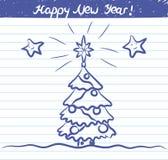 Julgranillustrationen för det nya året - skissa på skolaanteckningsboken Arkivfoton