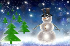 Julgrankort med snö och snögubben Arkivbild