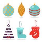 Julgranleksaker Bollar för garnering för julleksakervektor, stjärnor, tumvante, filtkängor för garneringjulgranleksaker vektor vektor illustrationer