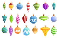 Julgranleksakersymboler uppsättning, tecknad filmstil royaltyfri illustrationer