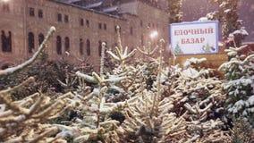 Julgranmarknad på röd fyrkant i Moskva, Ryssland stock video