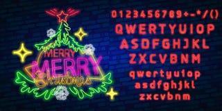 Julgranneontecken, ljus skylt, ljust baner Logo, emblem och etikett för nytt år Skapare för neontecken vektor illustrationer