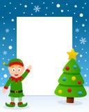 Julgranram med den lyckliga gröna älvan Arkivbild
