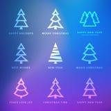 Julgransamling med violett bakgrund royaltyfri illustrationer